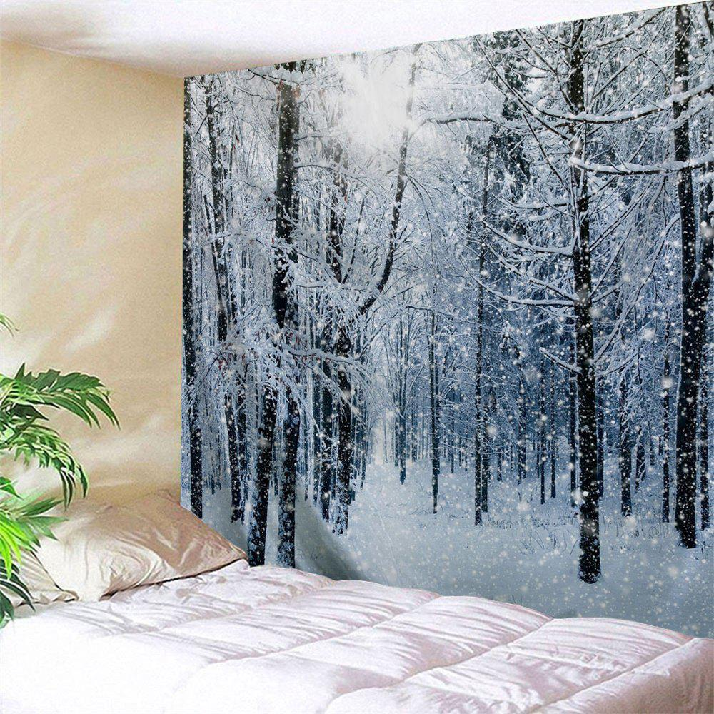 Snow Forest Print Tapestry Wall Hanging Art DecorationHOME<br><br>Size: W79 INCH * L71 INCH; Color: GREY WHITE; Style: Natural; Theme: Christmas,Landscape; Material: Polyester; Feature: Washable; Shape/Pattern: Forest; Weight: 0.3200kg; Package Contents: 1 x Tapestry;