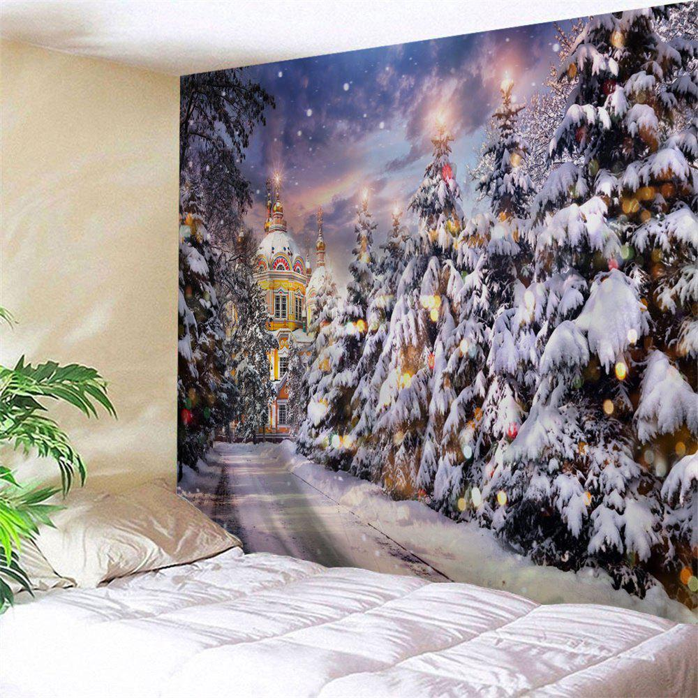 Christmas Pathway Print Tapestry Wall Hanging Art DecorationHOME<br><br>Size: W79 INCH * L59 INCH; Color: COLORMIX; Style: Festival; Theme: Christmas; Material: Polyester; Feature: Washable; Shape/Pattern: Plant; Weight: 0.2900kg; Package Contents: 1 x Tapestry;