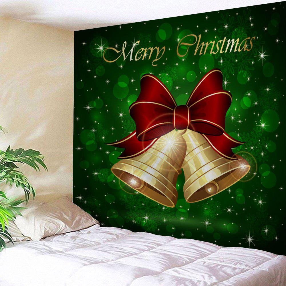 Christmas Bells Print Tapestry Wall Hanging Art DecorHOME<br><br>Size: W79 INCH * L71 INCH; Color: GREEN; Style: Festival; Theme: Christmas; Material: Polyester; Feature: Washable; Shape/Pattern: Bowknot,Print; Weight: 0.3200kg; Package Contents: 1 x Tapestry;