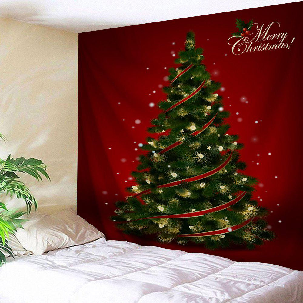 Wall Hanging Decoration Christmas Tree Print TapestryHOME<br><br>Size: W59 INCH * L59 INCH; Color: DEEP RED; Style: Festival; Theme: Christmas; Material: Polyester; Feature: Washable; Shape/Pattern: Plant; Weight: 0.2300kg; Package Contents: 1 x Tapestry;