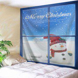 Wall Decor Christmas Window Snowman Tapestry -