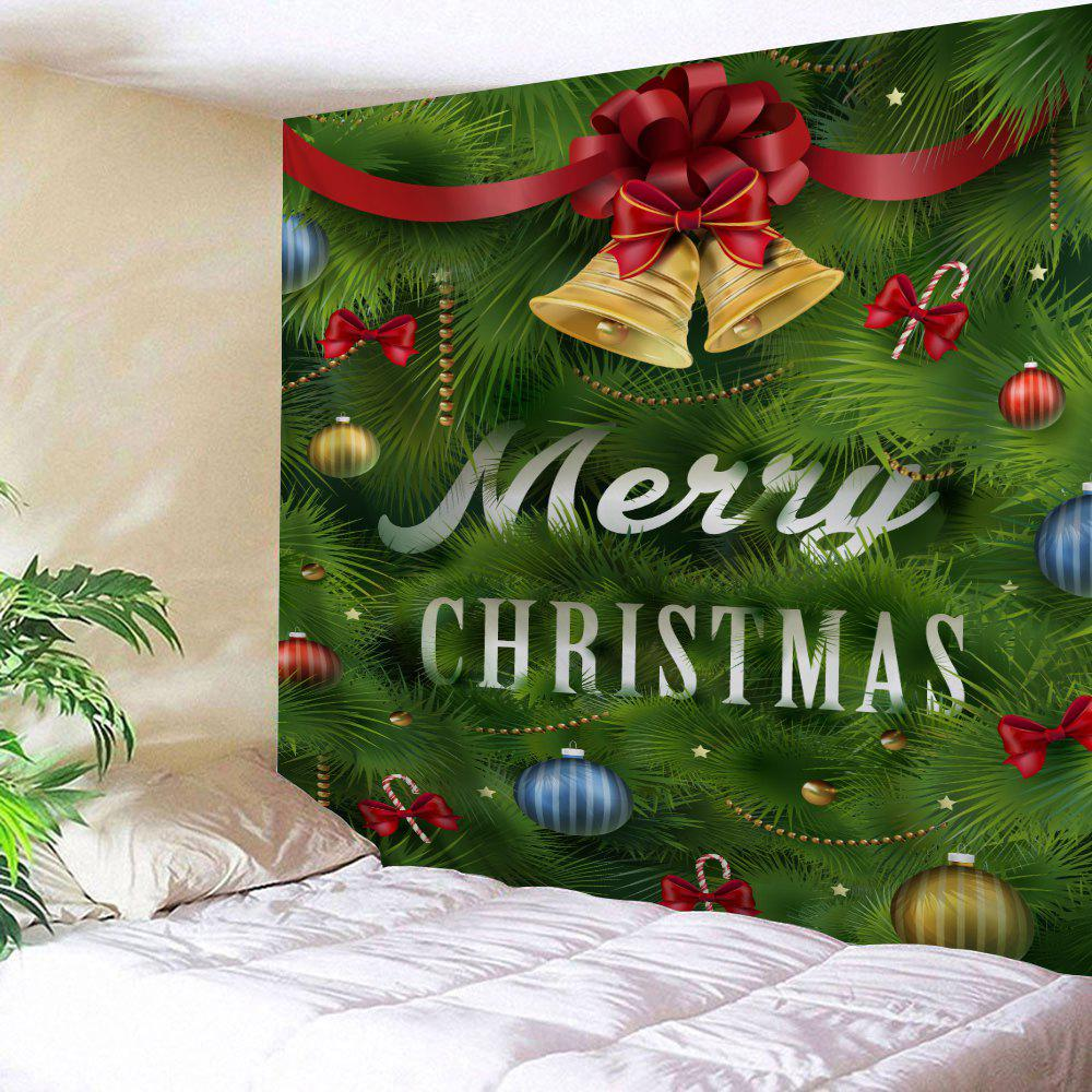 Christmas Bell Leaf Printed Wall TapestryHOME<br><br>Size: W91 INCH * L71 INCH; Color: GREEN; Style: Festival; Theme: Christmas; Material: Polyester; Feature: Removable,Washable; Shape/Pattern: Leaf; Weight: 0.3800kg; Package Contents: 1 x Tapestry;