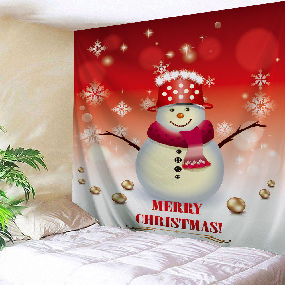 Wall Art Christmas Snowman Printed TapestryHOME<br><br>Size: W59 INCH * L51 INCH; Color: RED AND WHITE; Style: Festival; Theme: Christmas; Material: Polyester; Feature: Removable,Washable; Shape/Pattern: Snowman; Weight: 0.1800kg; Package Contents: 1 x Tapestry;