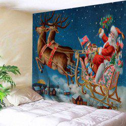 Santa Sleigh Printed Christmas Wall Tapestry - Blue - W91 Inch * L71 Inch