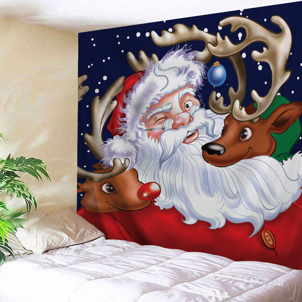 Santa Claus Reindeer Pattern Christmas TapestryHOME<br><br>Size: W79 INCH * L59 INCH; Color: COLORMIX; Style: Festival; Theme: Christmas; Material: Polyester; Feature: Removable,Washable; Shape/Pattern: Animal,Santa Claus; Weight: 0.2700kg; Package Contents: 1 x Tapestry;