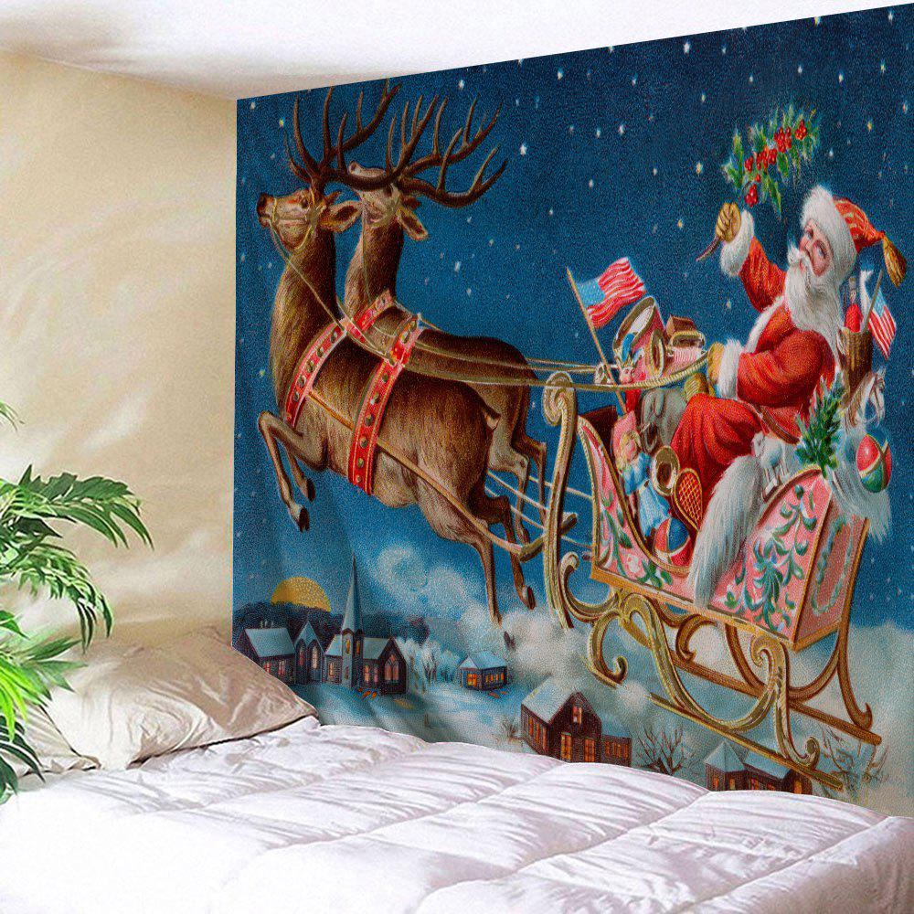 Santa Sleigh Printed Christmas Wall TapestryHOME<br><br>Size: W91 INCH * L71 INCH; Color: BLUE; Style: Festival; Theme: Christmas; Material: Polyester; Feature: Removable,Washable; Shape/Pattern: Animal,Santa Claus; Weight: 0.3800kg; Package Contents: 1 x Tapestry;