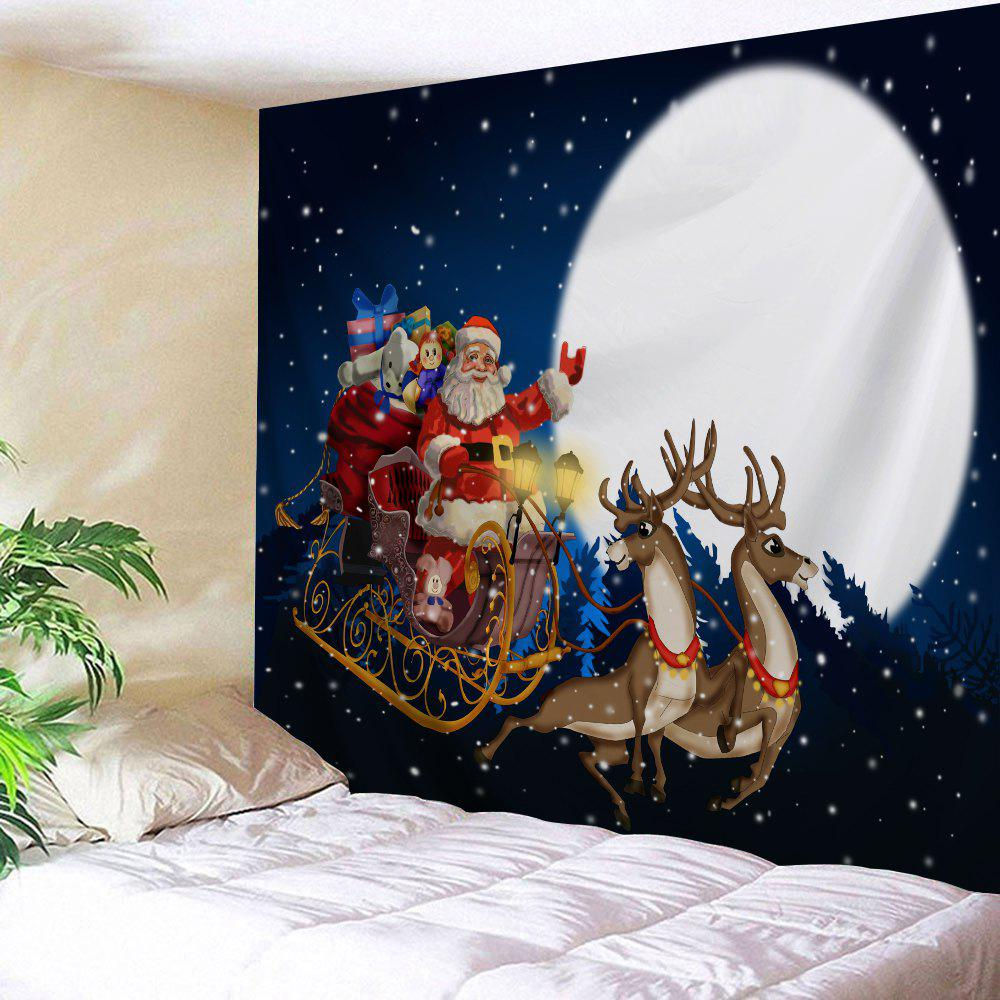 Christmas Moon Santa Sleigh Print Wall TapestryHOME<br><br>Size: W91 INCH * L71 INCH; Color: DEEP BLUE; Style: Festival; Theme: Christmas; Material: Polyester; Feature: Removable,Washable; Shape/Pattern: Animal,Moon,Santa Claus; Weight: 0.3800kg; Package Contents: 1 x Tapestry;