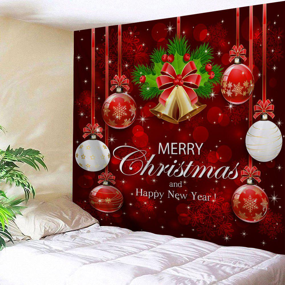 Wall Decor Merry Christmas Bell Ball TapestryHOME<br><br>Size: W59 INCH * L51 INCH; Color: RED; Style: Festival; Theme: Christmas; Material: Polyester; Feature: Removable,Washable; Shape/Pattern: Ball,Letter; Weight: 0.1800kg; Package Contents: 1 x Tapestry;