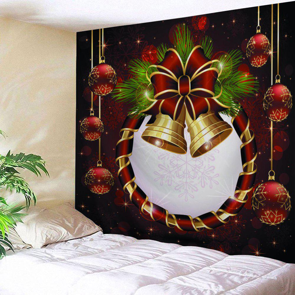 Christmas Ball Bell Print Wall Decor TapestryHOME<br><br>Size: W91 INCH * L71 INCH; Color: COLORMIX; Style: Festival; Theme: Christmas; Material: Polyester; Feature: Removable,Washable; Shape/Pattern: Ball; Weight: 0.3800kg; Package Contents: 1 x Tapestry;