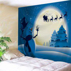 Christmas Night Snowman Print Tapestry Wall Hanging Art Decoration - Blue - W91 Inch * L71 Inch