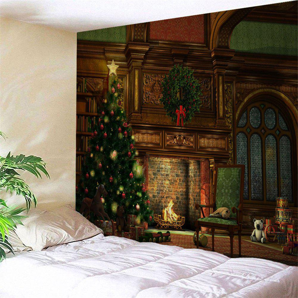 Christmas Tree Fireplace Print Tapestry Wall Hanging Art DecorationHOME<br><br>Size: W59 INCH * L51 INCH; Color: COLORMIX; Style: Festival; Theme: Christmas; Material: Polyester; Feature: Washable; Shape/Pattern: Plant; Weight: 0.1900kg; Package Contents: 1 x Tapestry;
