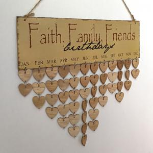 DIY Wooden Faith Family and Friends Birthday Calendar Board - Gris