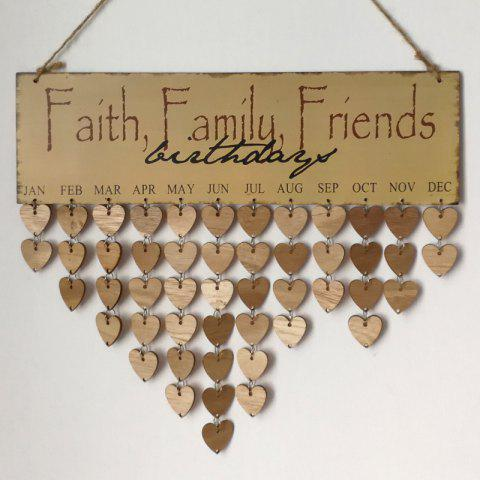 DIY Wooden Faith Family and Friends Birthday Calendar Board Gris