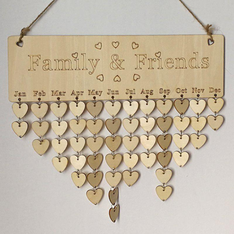 DIY Wooden Family And Friends Birthday Calendar BoardHOME<br><br>Color: HEART; Candle Type: Wood Crafts; Use: Home Decoration; Material: Wood; Weight: 0.1650kg; Package Contents: 1 x Birthday Board (Set);