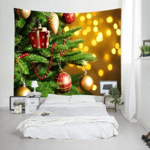Christmas Tree Baubles Print Tapestry Wall Hanging Decoration - GOLDEN W79 INCH * L71 INCH