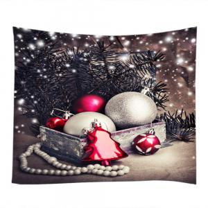 Christmas Baubles Tree Print Tapestry Wall Hanging Art Decoration - COLORMIX W59 INCH * L51 INCH