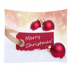 Merry Christmas Baubles Print Tapestry Wall Hanging Art Decoration - RED W59 INCH * L51 INCH
