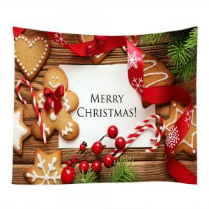 Merry Christmas Cookies Print Tapestry Wall Hanging Art Decoration - COLORMIX W59 INCH * L51 INCH