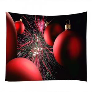Christmas Baubles Firework Print Tapestry Wall Hanging Art Décoration -