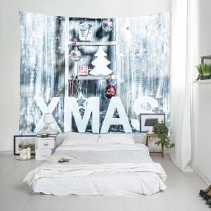 Xmas Snow Print Tapestry Wall Hanging Art Decoration - WHITE W59 INCH * L51 INCH