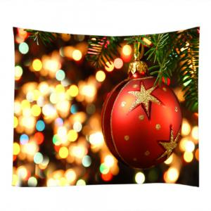 Christmas Bauble Lights Print Tapestry Wall Hanging Art Décoration -