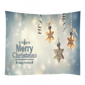 Merry Christmas Star Print Tapestry Wall Hanging Art Décoration - Multicolore