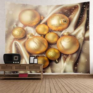 Christmas Glitter Baubles Print Tapestry Wall Hanging Art Decoration - GOLDEN W59 INCH * L51 INCH