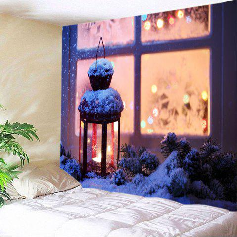 Latest Snowy Christmas Lantern Print Tapestry Wall Hanging Art Decoration - W59 INCH * L51 INCH COLORMIX Mobile