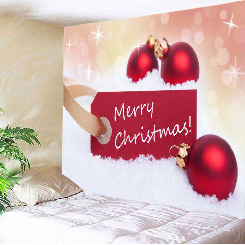 Cheap Merry Christmas Baubles Print Tapestry Wall Hanging Art Decoration - W59 INCH * L51 INCH RED Mobile