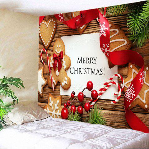 Fancy Merry Christmas Cookies Print Tapestry Wall Hanging Art Decoration - W59 INCH * L51 INCH COLORMIX Mobile