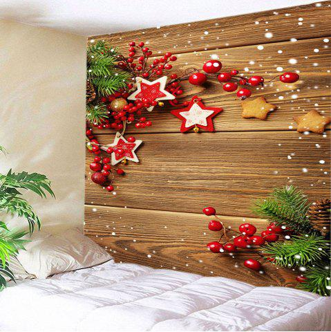 Fancy Christmas Woodgrain Print Tapestry Wall Hanging Art Decoration - W59 INCH * L51 INCH BROWN Mobile