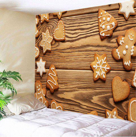 Store Christmas Snowflake Cookie Print Tapestry Wall Hanging Art Decoration BROWN W59 INCH * L51 INCH