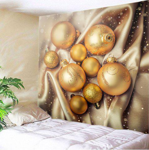 Christmas Glitter Baubles Print Tapestry Wall Hanging Art Décoration Or