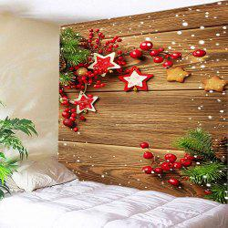 Christmas Woodgrain Print Tapestry Wall Hanging Art Decoration - BROWN W59 INCH * L51 INCH