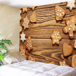 Christmas Snowflake Cookie Print Tapestry Wall Hanging Art Decoration - BROWN W59 INCH * L51 INCH