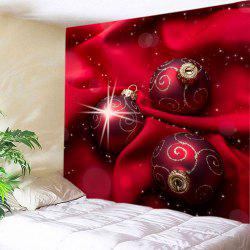 Christmas Cloth Baubles Print Tapestry Wall Hanging Art Decoratio - RED W59 INCH * L51 INCH