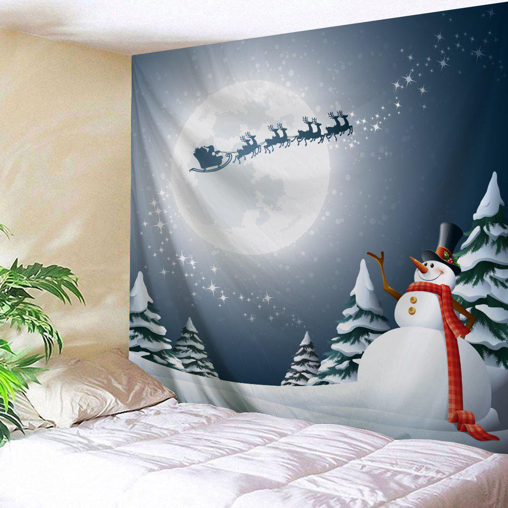 Christmas Snowman Moon Print Wall TapestryHOME<br><br>Size: W59 INCH * L51 INCH; Color: GREY BLUE; Style: Festival; Theme: Christmas; Material: Polyester; Feature: Removable,Washable; Shape/Pattern: Snowman; Weight: 0.1800kg; Package Contents: 1 x Tapestry;