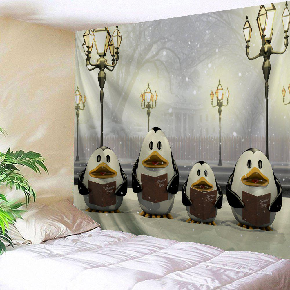 Christmas Penguins Street Lamp Wall TapestryHOME<br><br>Size: W59 INCH * L51 INCH; Color: COLORMIX; Style: Festival; Theme: Christmas; Material: Polyester; Feature: Removable,Washable; Shape/Pattern: Animal; Weight: 0.1800kg; Package Contents: 1 x Tapestry;