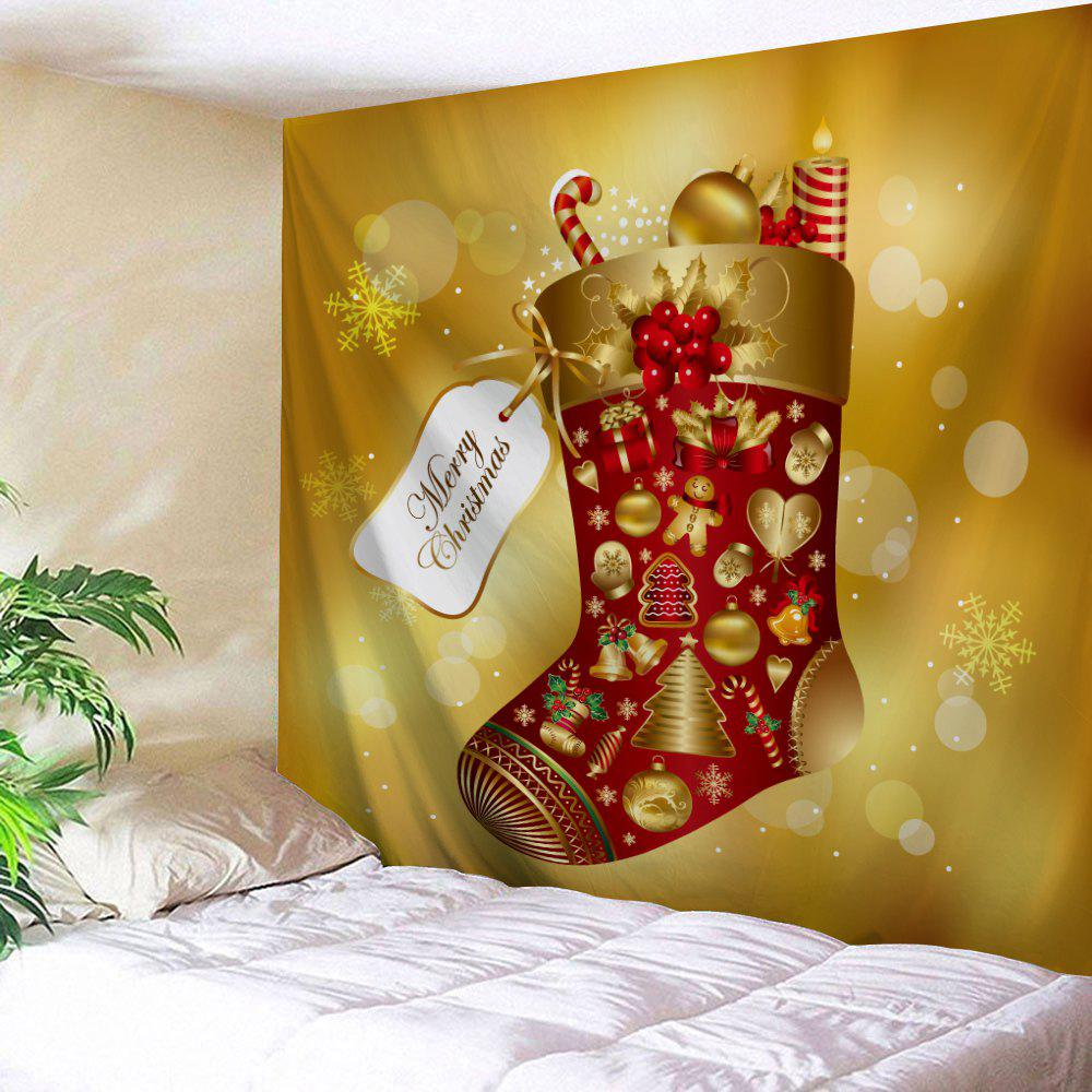 Christmas Sock Wall Decor TapestryHOME<br><br>Size: W59 INCH * L59 INCH; Color: LIGHT BROWN; Style: Festival; Theme: Christmas; Material: Polyester; Feature: Removable,Washable; Shape/Pattern: Print; Weight: 0.2100kg; Package Contents: 1 x Tapestry;