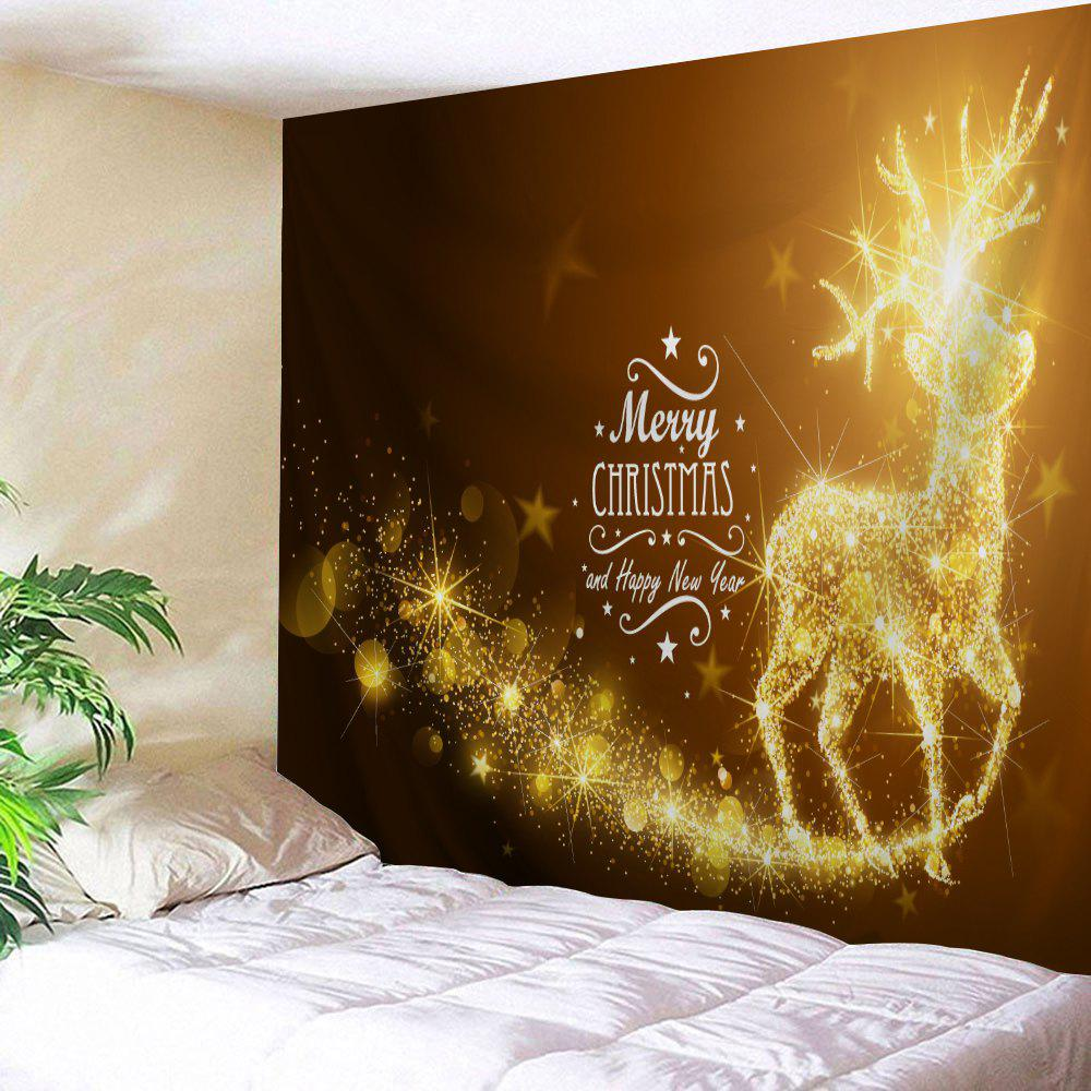 Christmas Reindeer Pattern Wall TapestryHOME<br><br>Size: W59 INCH * L59 INCH; Color: GOLD BROWN; Style: Festival; Theme: Christmas; Material: Polyester; Feature: Removable,Washable; Shape/Pattern: Animal,Letter; Weight: 0.2100kg; Package Contents: 1 x Tapestry;