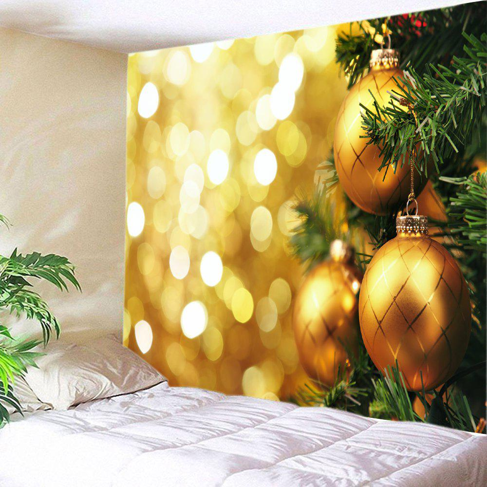 Christmas Hanging Baubles Print Tapestry Wall Hanging Art DecorationHOME<br><br>Size: W91 INCH * L71 INCH; Color: GOLDEN; Style: Festival; Theme: Christmas; Material: Polyester; Feature: Washable; Shape/Pattern: Ball; Weight: 0.4000kg; Package Contents: 1 x Tapestry;