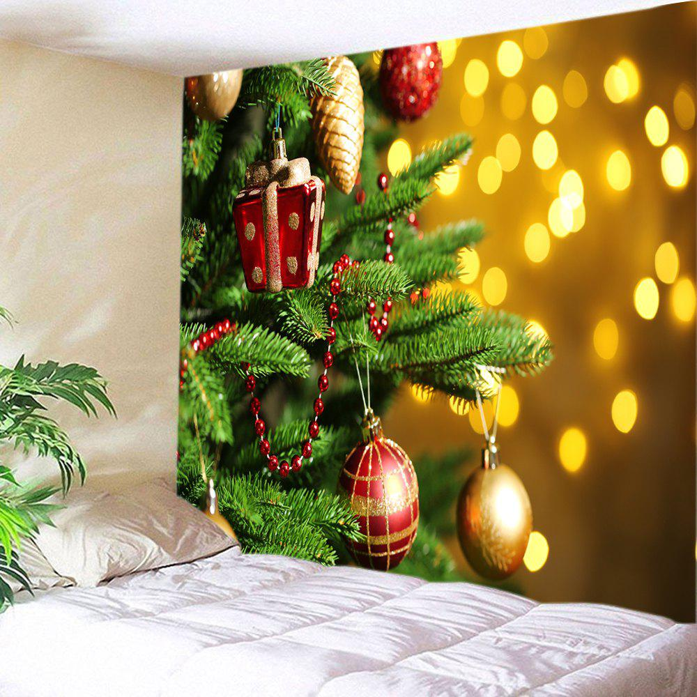Christmas Tree Baubles Print Tapestry Wall Hanging DecorationHOME<br><br>Size: W91 INCH * L71 INCH; Color: GOLDEN; Style: Festival; Theme: Christmas; Material: Polyester; Feature: Washable; Shape/Pattern: Ball,Tree; Weight: 0.4000kg; Package Contents: 1 x Tapestry;