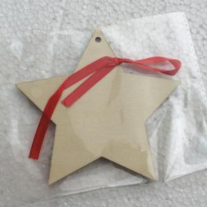 Merry Christmas Tree Star Wooden Hanging Decorations - WOOD