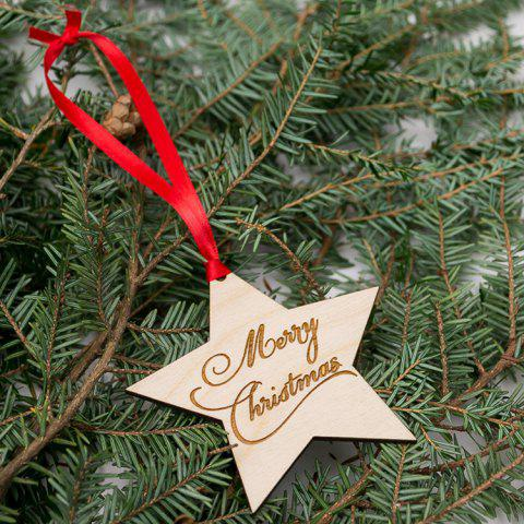 Latest Merry Christmas Tree Star Wooden Hanging Decorations WOOD
