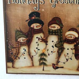 Christmas Snowmen Pattern Door Decor Wooden Hanging Sign - BROWN