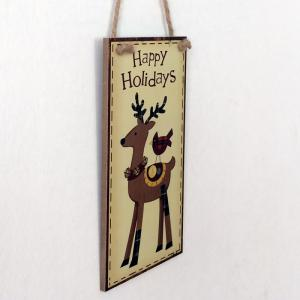 Christmas Deer Pattern Door Decor Wooden Hanging Sign -