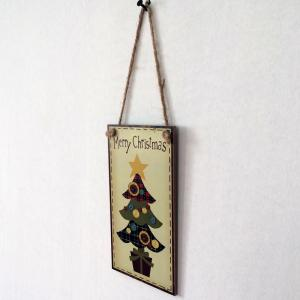 Christmas Tree Pattern Door Decor Wooden Hanging Sign - BUTTERCUP