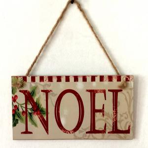 Christmas Noel Pattern Door Decor Wooden Hanging Sign -