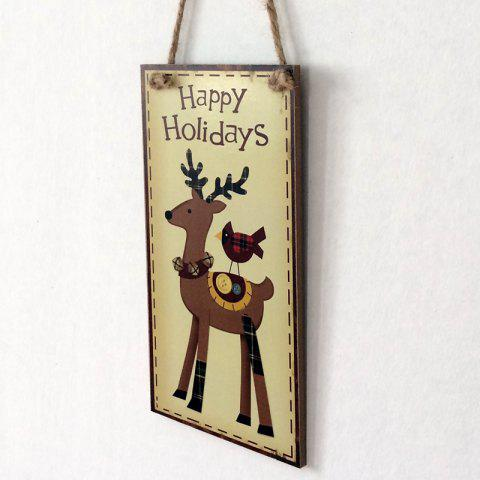 Chic Christmas Deer Pattern Door Decor Wooden Hanging Sign