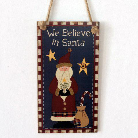 Trendy Christmas Santa Claus Pattern Door Decor Wooden Hanging Sign - BLACK  Mobile